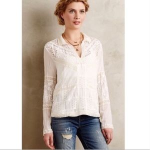 Anthropologie Tiny Cream Abbey Lace Blouse